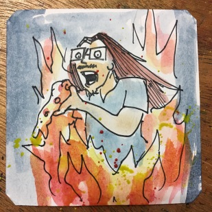 John Romero eating pizza as his house burns down in the Sims @Macaw45