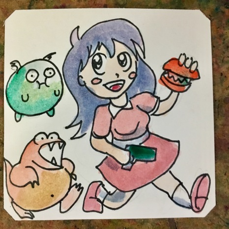 Girl with a gun & burgers fighting weird guts monsters in UFO Senshi Yohko Chan @chuboh